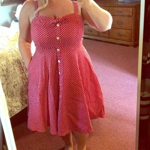 Red Polka Dot Pin Up Dress from City Chic